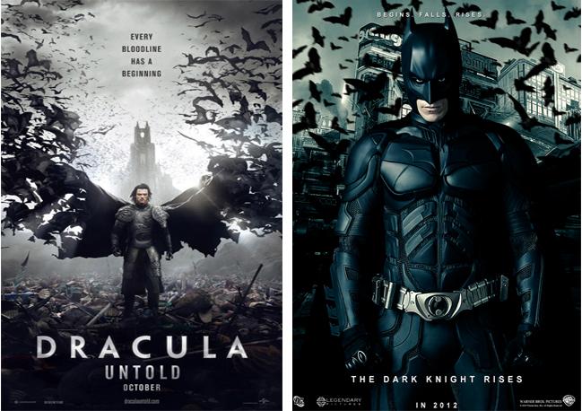 Drácula - A História Nunca Contada com cartaz que lembram o Batman