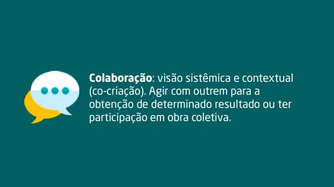 Colaboração: visão sistêmica e contextual (co-criação). Agir com outrem para a obtenção de determinado resultado ou ter participação em obra coletiva.